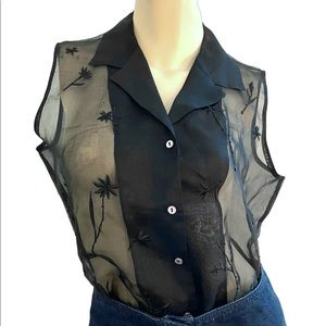 90s vtg Relativity 100% silk black blouse- M